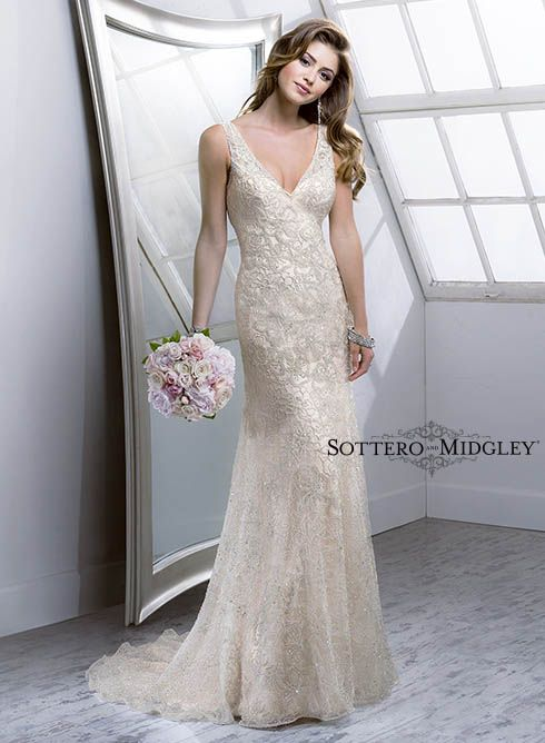 dcbb10a9d36 A light gold wedding dress with a plunging V-neckline is a subtle variation  of a traditional wedding dress! Try Maeve from our Spring 2014 collection.