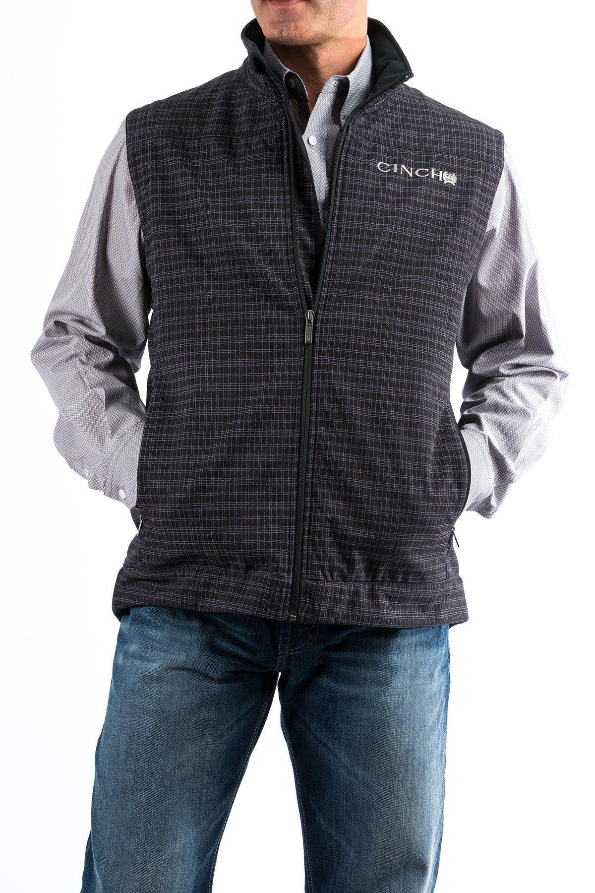 65e5c2a6d5e Cinch Men s Black Plaid Concealed Carry Vest