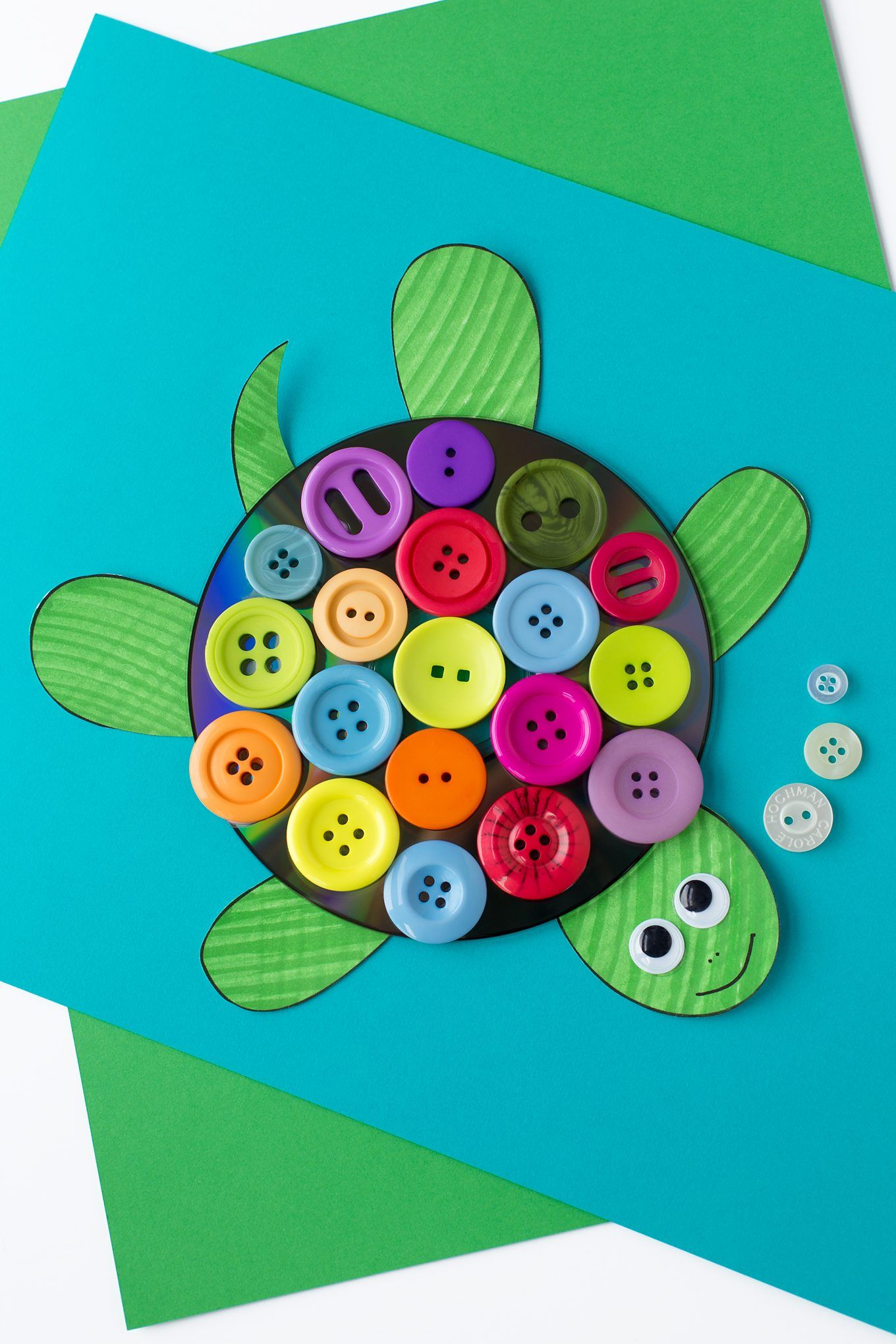 Colorful upcycled cd and button turtle craft for kids for Michaels crafts button maker