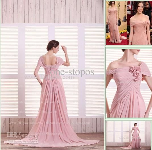 Hot Sexy Off Shoulder Chiffon Floor Length Slit Flowers Custom Made Prom Dresses DH4048, Free shipping, $95.79/Piece | DHgate Mobile