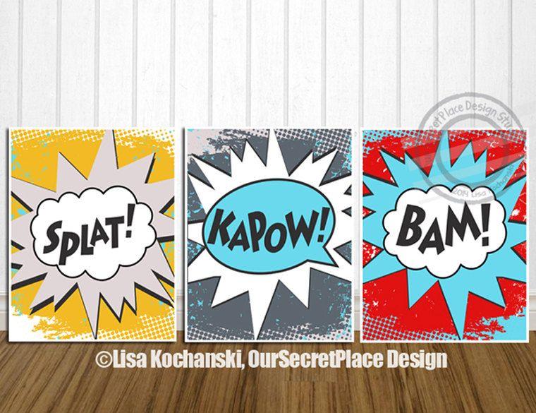 Superhero Wall Art printable superhero wall art bam splat kapow comic words super