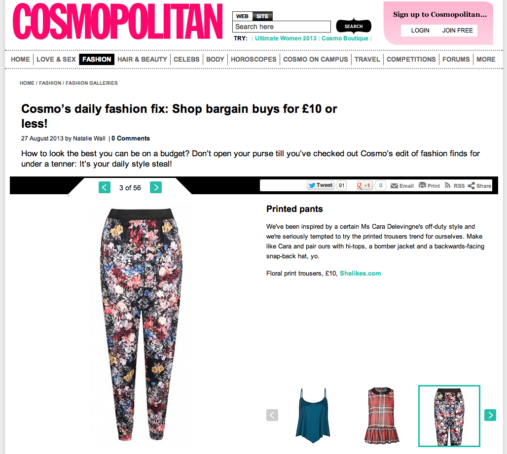 "Cosmopolitan online coverage of our ""Ida"" pants"
