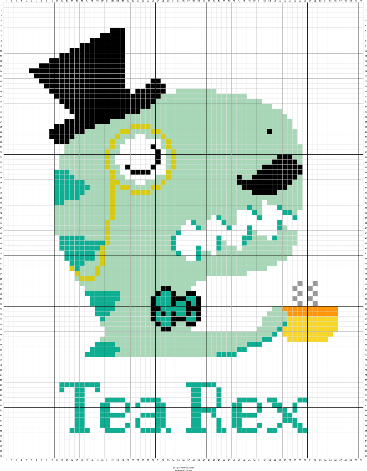 Dinosaur cross stitch.