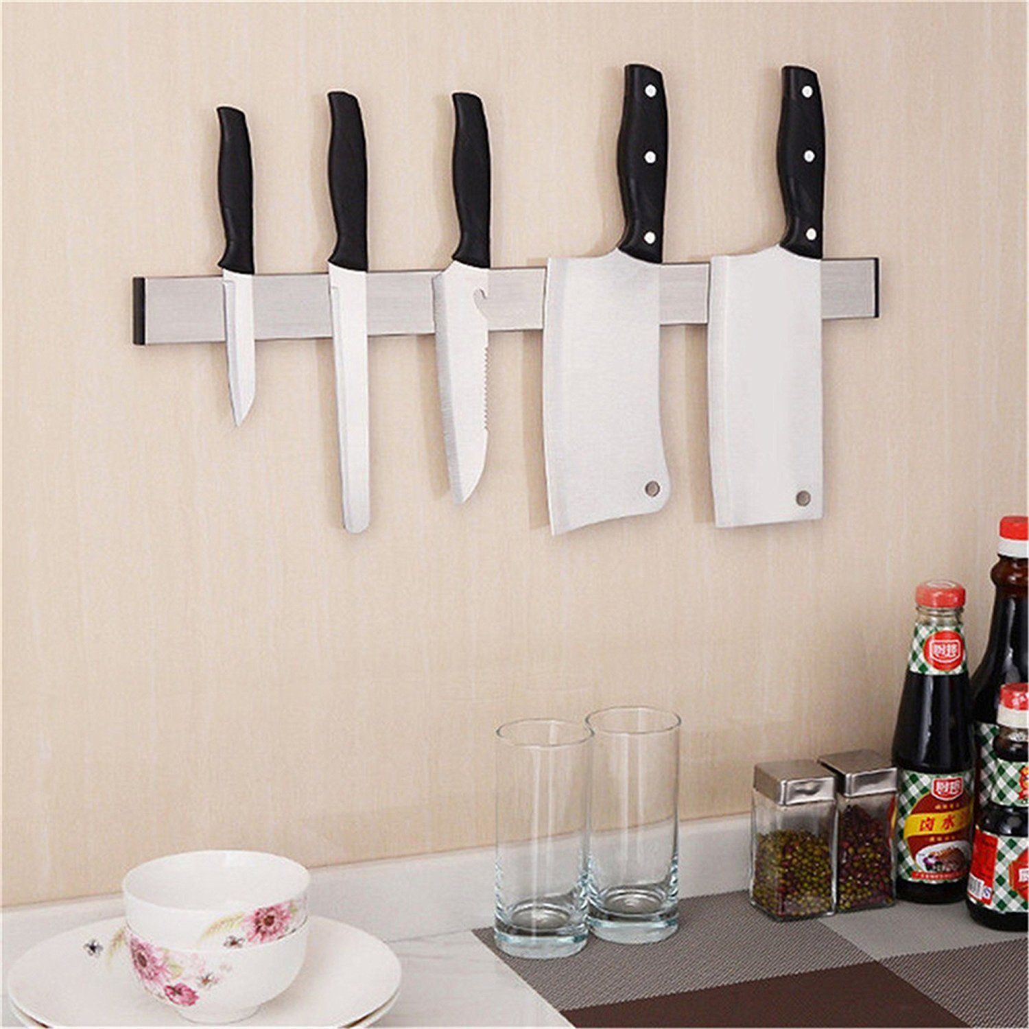 Sonicee Knife Holder,Magnetic Stainless Steel Knife Storage Wall Rack Holder