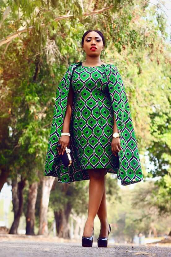 Green African print mini shift dress with a cape