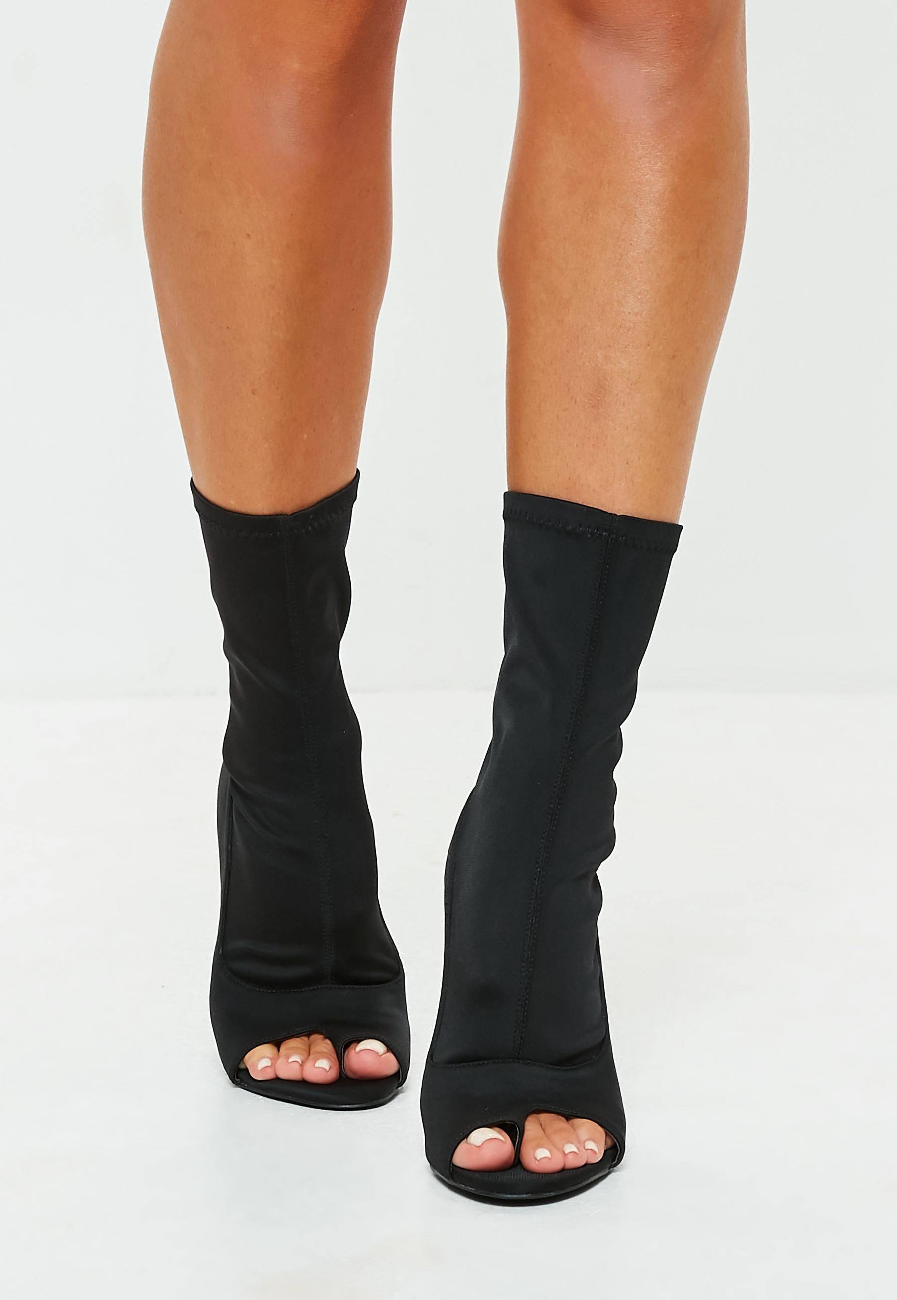 079464a12eb3 Missguided - Black Peep Toe Post Sock Heeled Ankle Boots