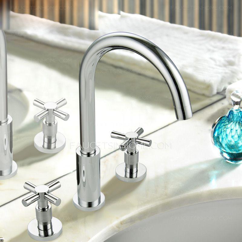 Vintage Two Cross Handle Split Style Bathroom Sink Faucet ...