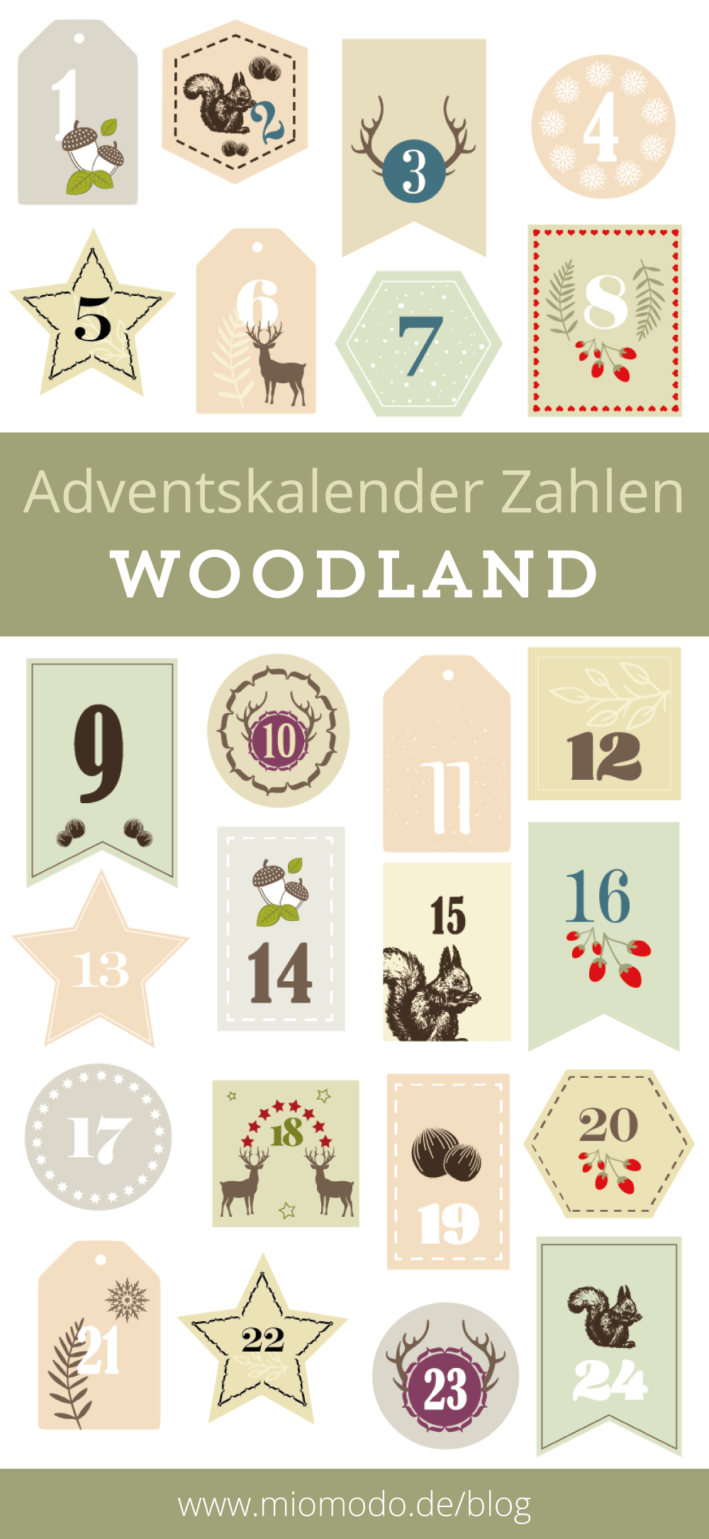 Diy Adventskalender Zahlen Woodland різдвяний календар
