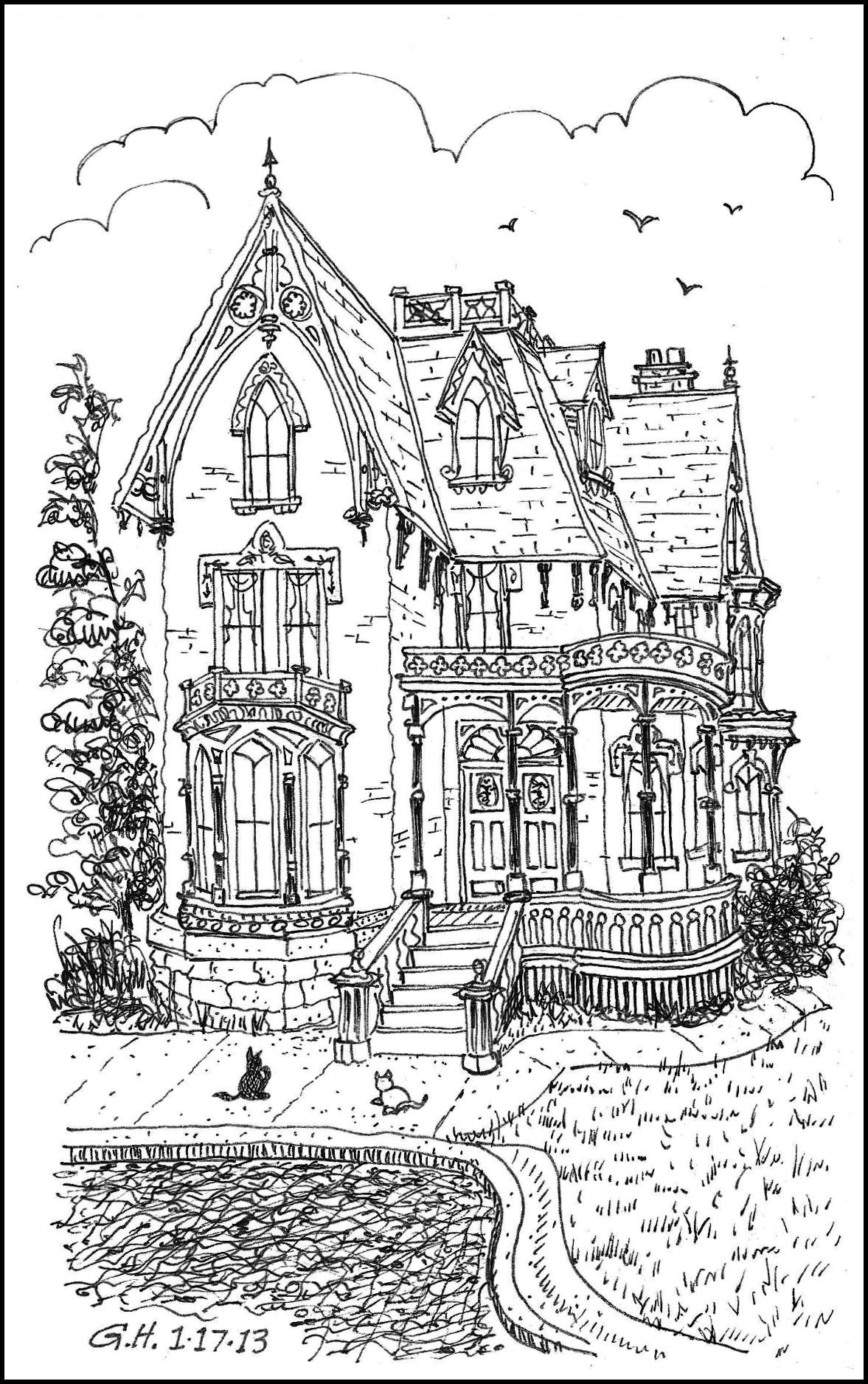 Icolor architecture victorian loose line 1177x1895 for House coloring pages