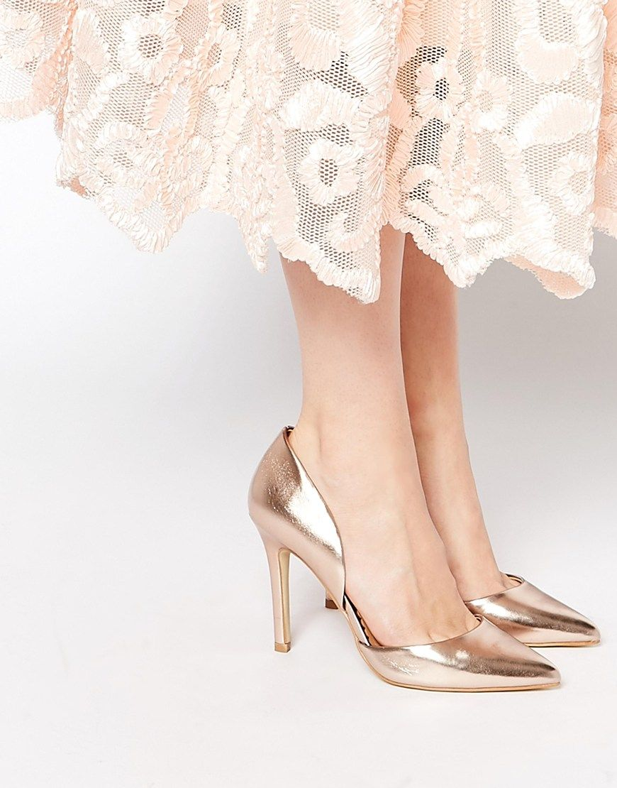 Head Over Heels Callina Rose Gold Point Toe Two Part Heeled Shoes at  asos