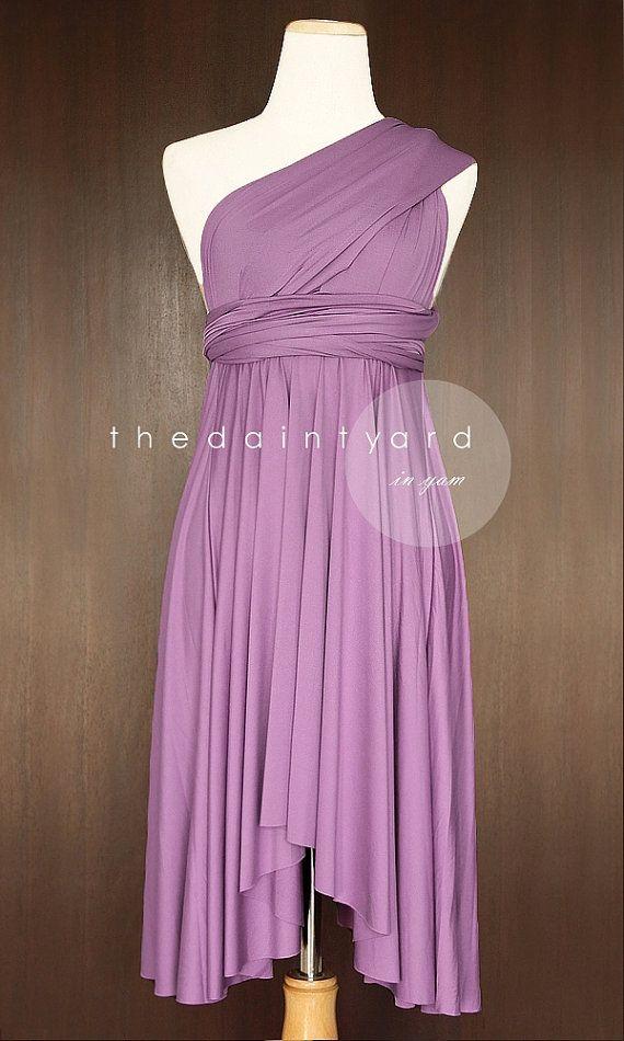 727adcb97045a TDY Yam Short Asymmetrical Bridesmaid Dress Convertible Dress ...