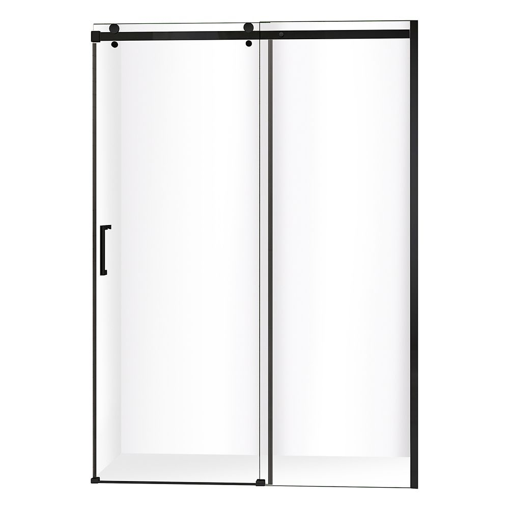 Quartz 48 Inch X 78 75 Inch Frameless Sliding Shower Door In Matte Black Shower Doors Frameless Sliding Shower Doors Bypass Sliding Shower Doors