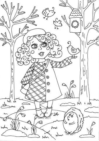 Girl In Forest Coloring Book Page Free Printable Coloring Coloringbook Colouring Colourin Spring Coloring Pages Coloring Pages Abstract Coloring Pages
