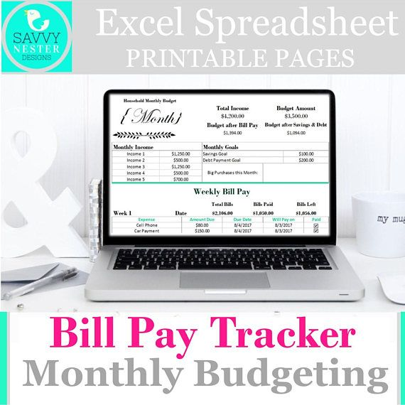 Excel weekly expense planner income tracker template Savvy Nester