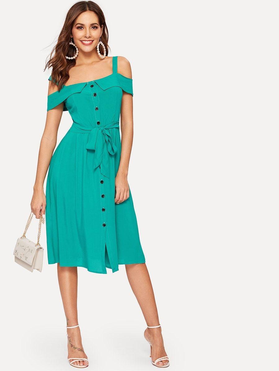 af0a41d4739 Foldover Cold Shoulder Button Through Belt Dress