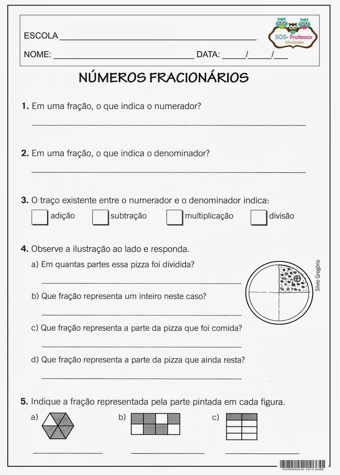Pin De Sonia Em 5ano Numero Fracionario Atividades De