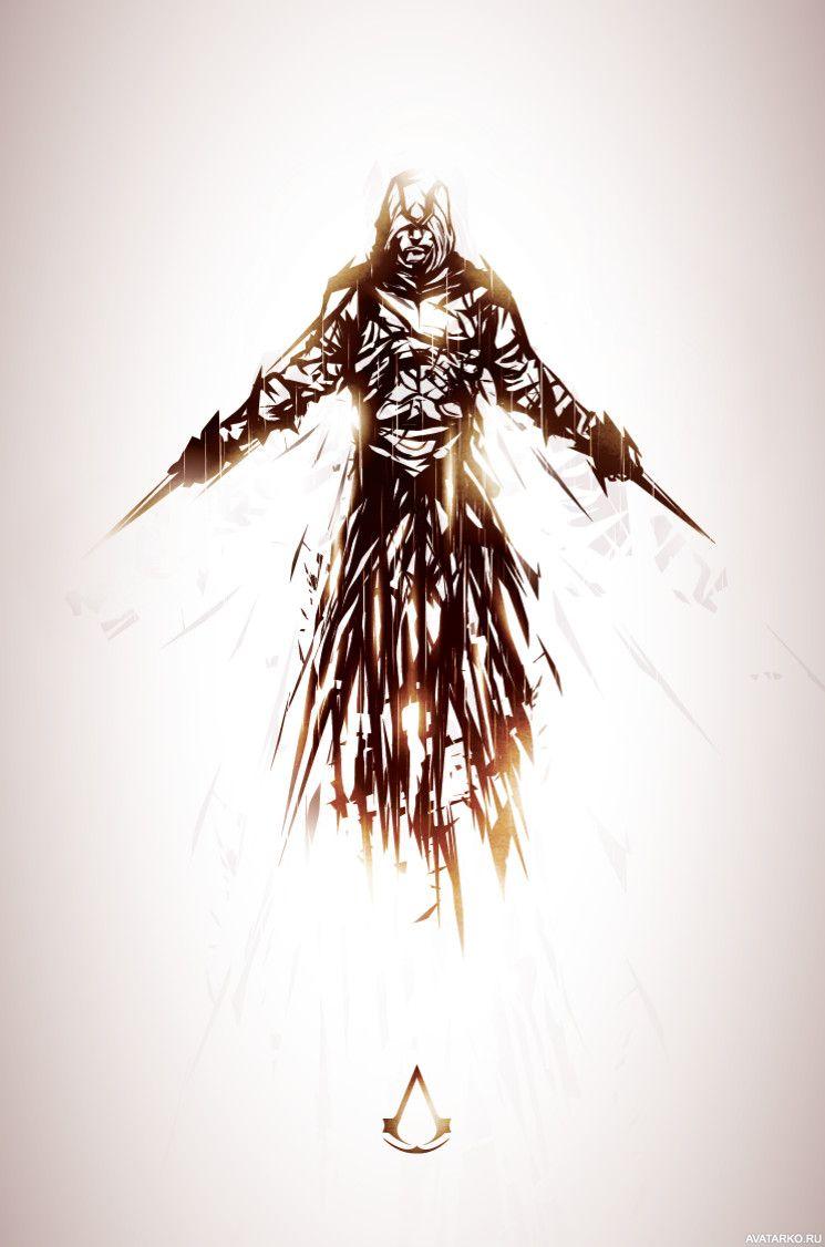 Рисунок ассасина из игры с двумя клинками в руках ...