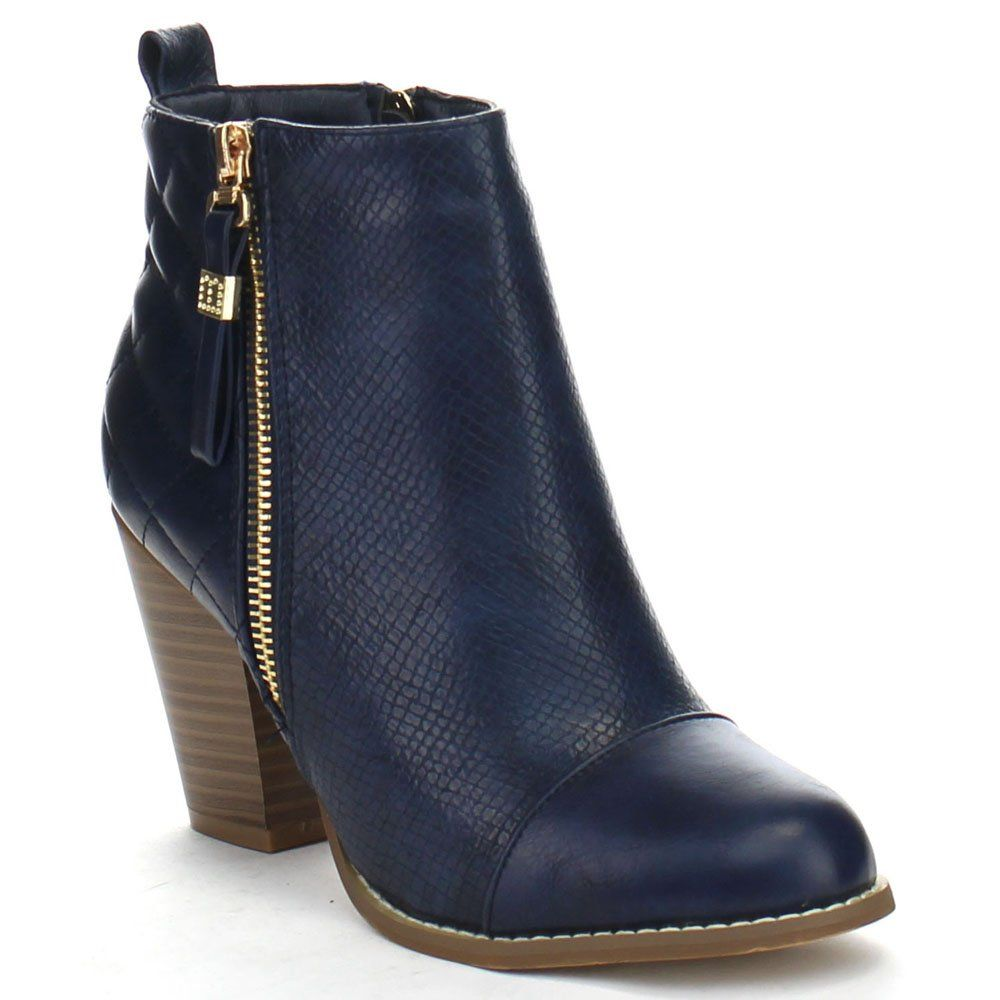 Gina-15 Women's Cap Toe Zip Up Quilt Snake Fashion Ankle Bootie