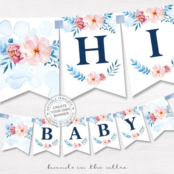 image regarding Welcome Baby Banner Free Printable called Printable floral banner template, partners little one shower