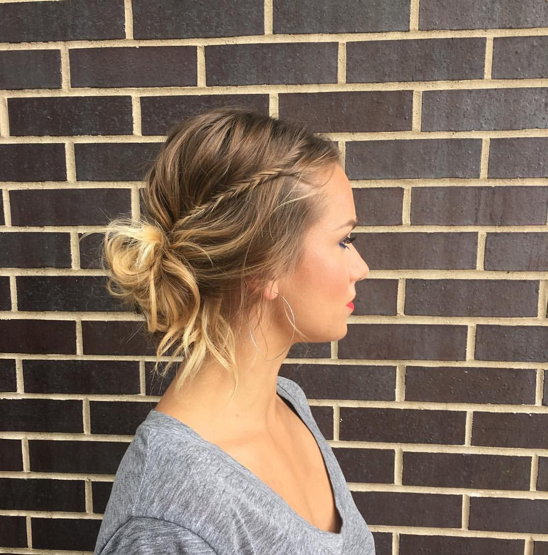 Messy Bun Fishtail Accent Braid For A Casual Cool Girl Vibe