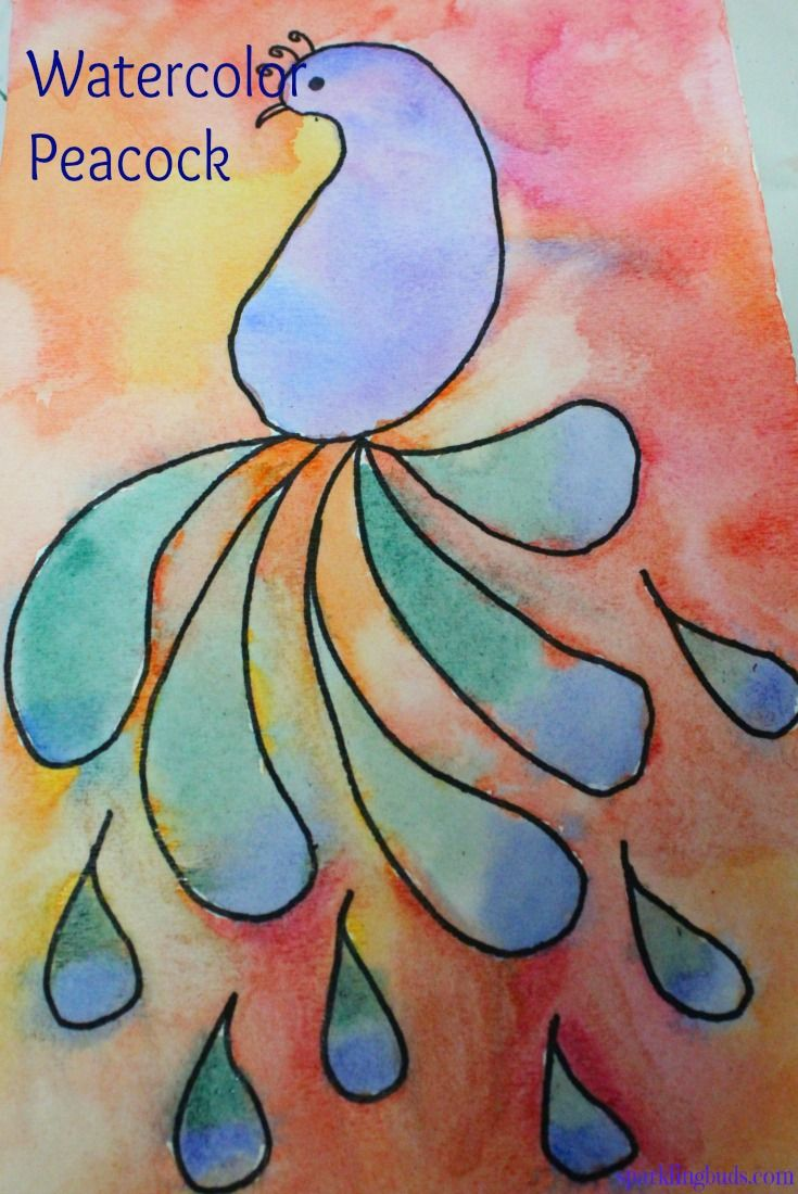 Easy Watercolor Idea Peacock Painting With Kids Watercolor Art