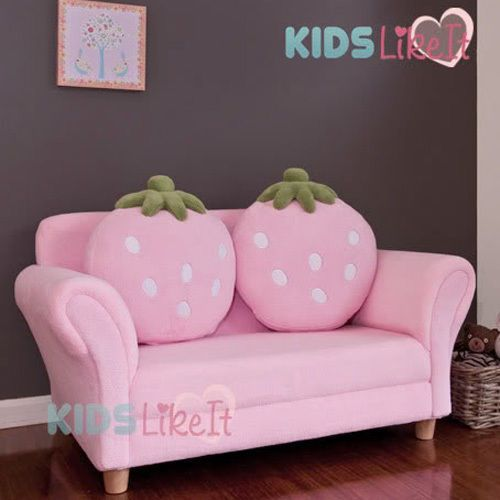 New Girls PINK 2 Seat Wooden STRAWBERRY SOFA COUCH Kids ARM CHAIR w ...