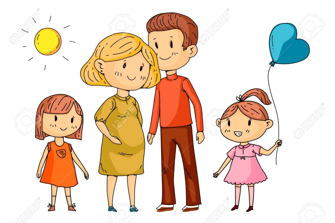 Cartoon Family With Pregnant Woman And Little Children Sponsored Family Cartoon Pregnant Ch Family Cartoon Logo Design Typography Logo Design Trends