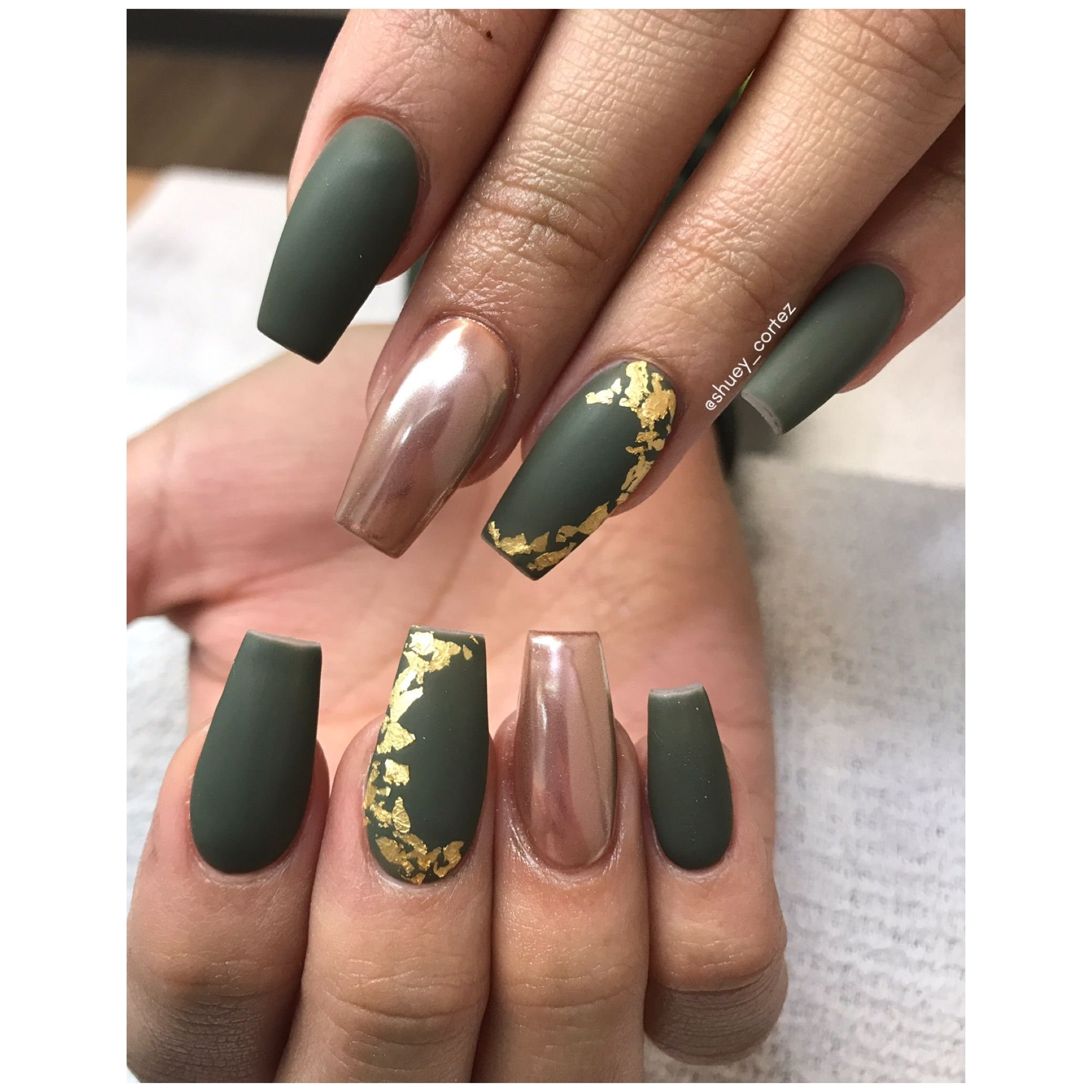 Olive Green Nails Instagram @shuey_cortez