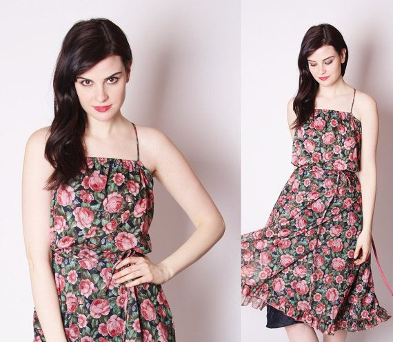 Vintage 70s Black and Pink Rose Floral Flowy Boho by aiseirigh, $62.00