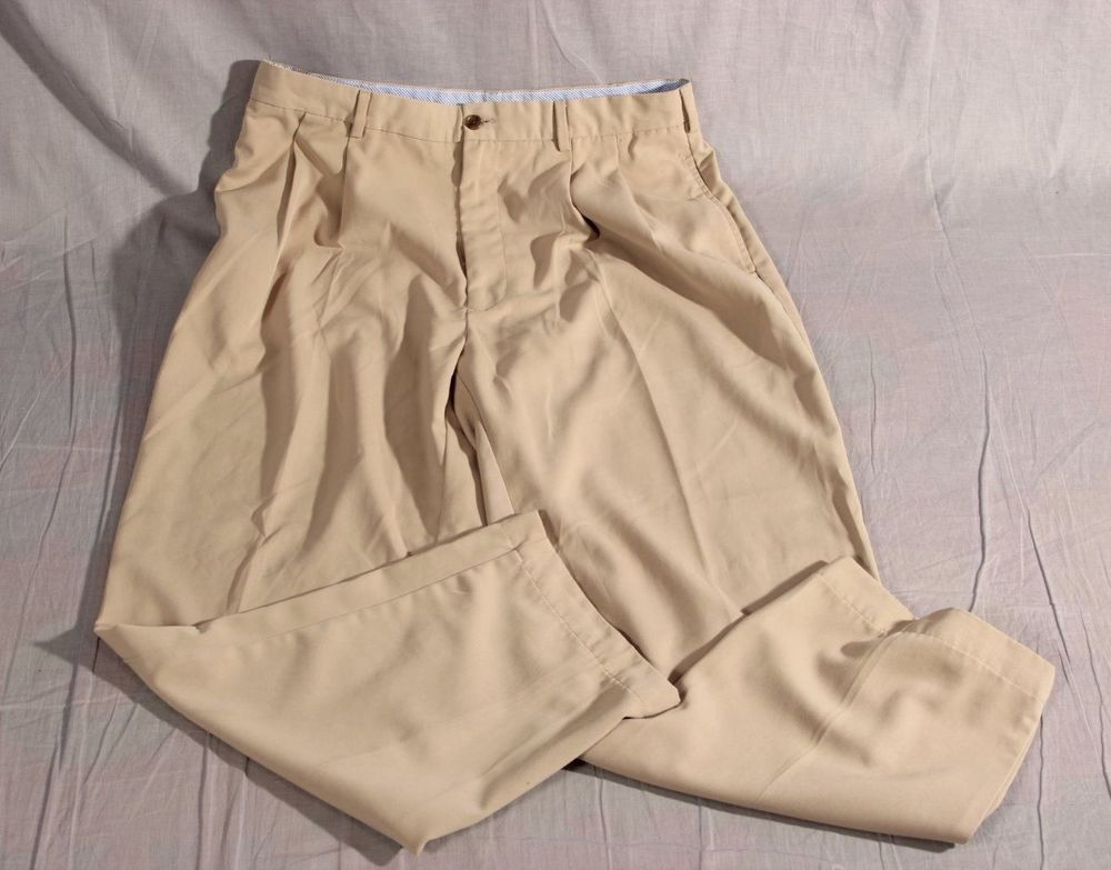 Men's Tommy Hilfiger Dress Pants Tan Regular Size 36X32 100% Polyester  #TommyHilfiger #DressPants