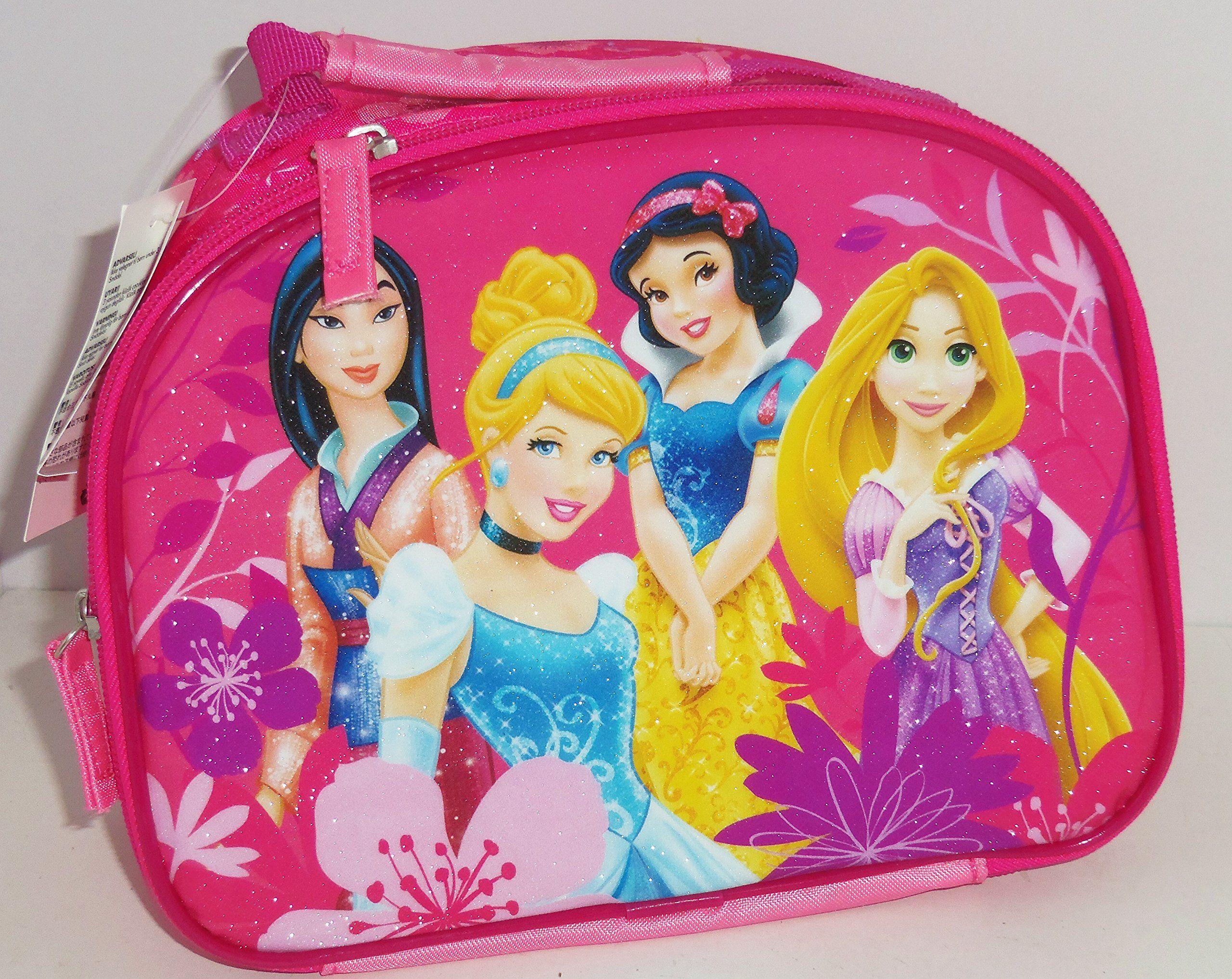 949ad03b906 Disney Princess Cinderella Rapunzel Mulan Snow White Lunch Tote Box Bag  Pink Glitter