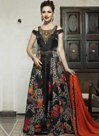 Black Embroidery Work Printed Satin Chiffon Designer Fancy Long ...