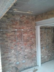 all the wiring is in galvanised steel conduit the exposed bricks rh pinterest com install wiring in brick wall Wall Switch Wiring Diagram