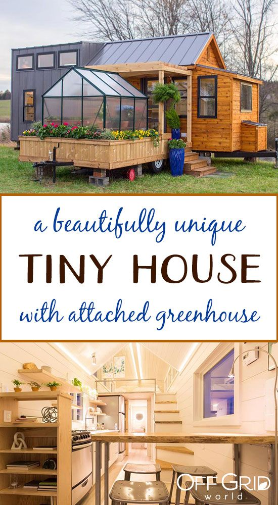 Unique Tiny Home With Attached Greenhouse Deck and Pergola - Off Grid World