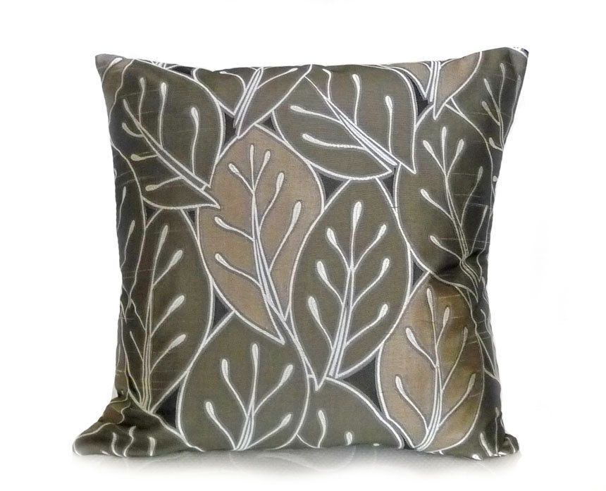 Modern Throw Pillows, Leaves In Earthy Natural Colors, Sage Green Brown  Black, Contemporary Designer Sofa Couch Cushions 18x18. $35.00, Via Etsy.