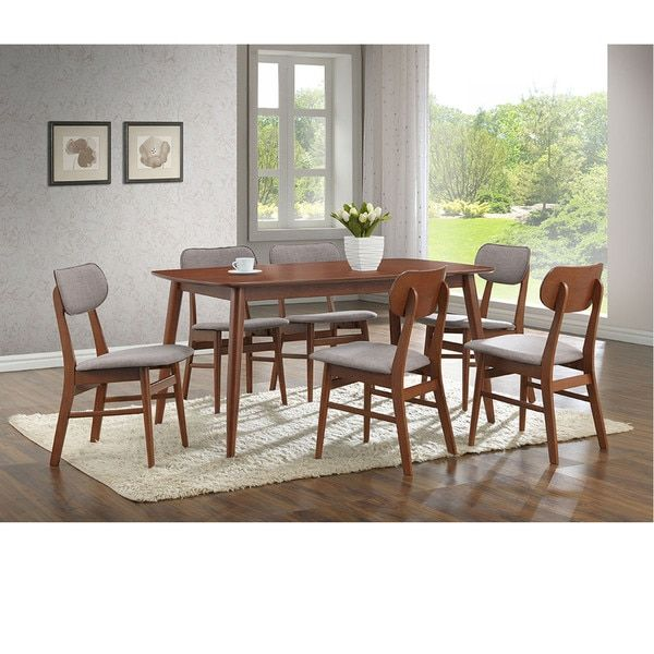 Set Of 2 Sacramento Mid Century Solid Wood Dining Chairs Gray Fabric7 Piece