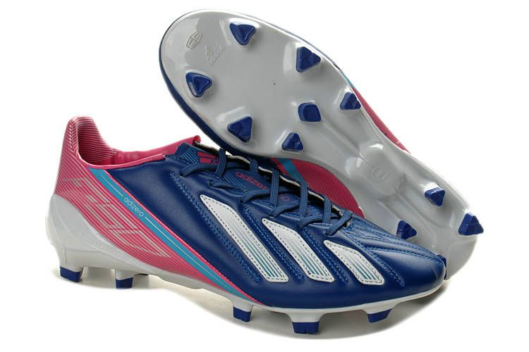 huge selection of 9a5a6 48b98 Best Adidas F50 Adizero TRX FG Micoach Compatible Leather Soccer Cleats  Sale Steel Blue Pink White