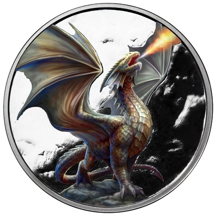 Noble Dragon In 1 Ounce Colorized 999 Fine Silver Anne Stokes Anne Stokes Dragon Silver Coins