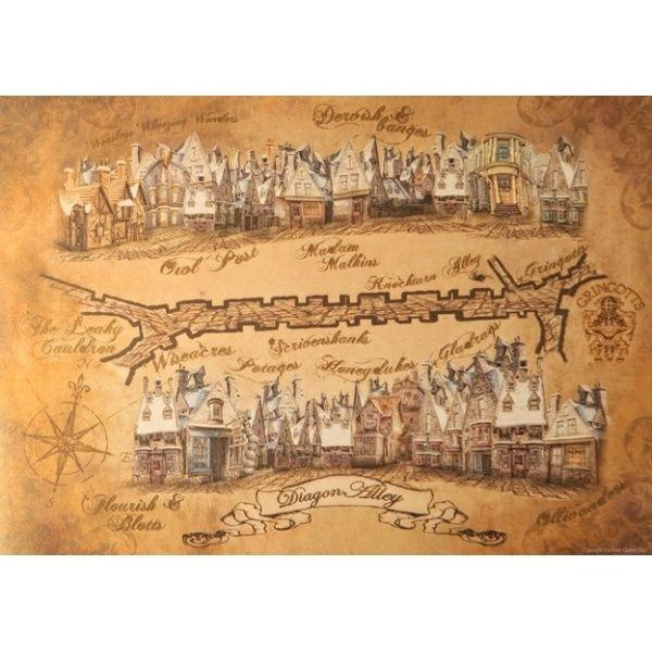 Diagon Alley Map | Harry Potter | Pinterest | Chemin de traverse und ...