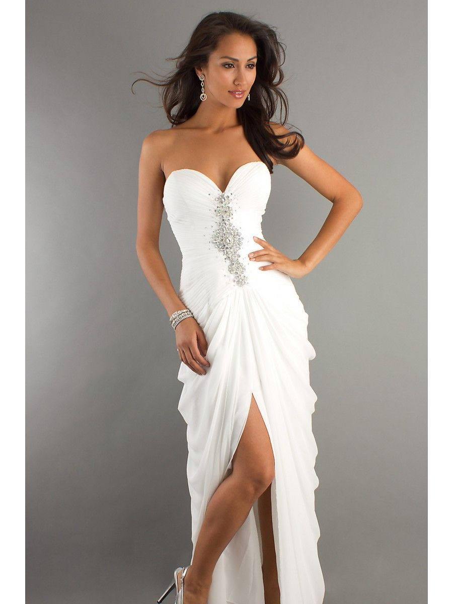 Inexpensive Modest Long White Prom Dresses Evening Party Gowns ...