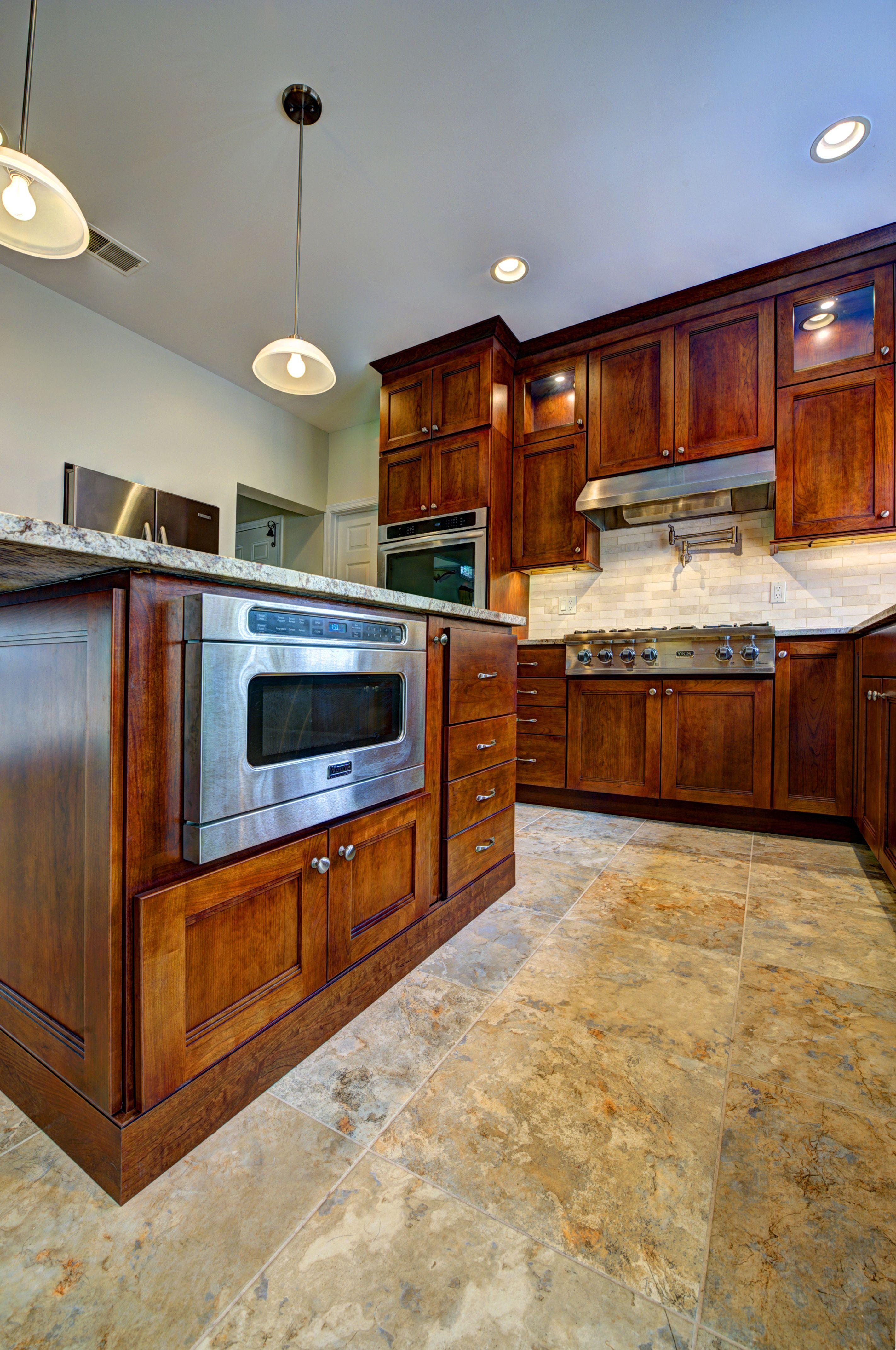 Fieldstone Wayburg Cabinets, Cherry Wood, Paprika With Chocolate Glaze  Finish.