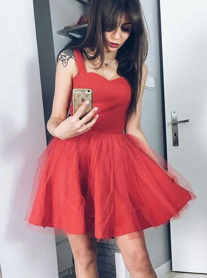 A Line Square Neck Red Tulle Short Homecoming Party Dress Fashion