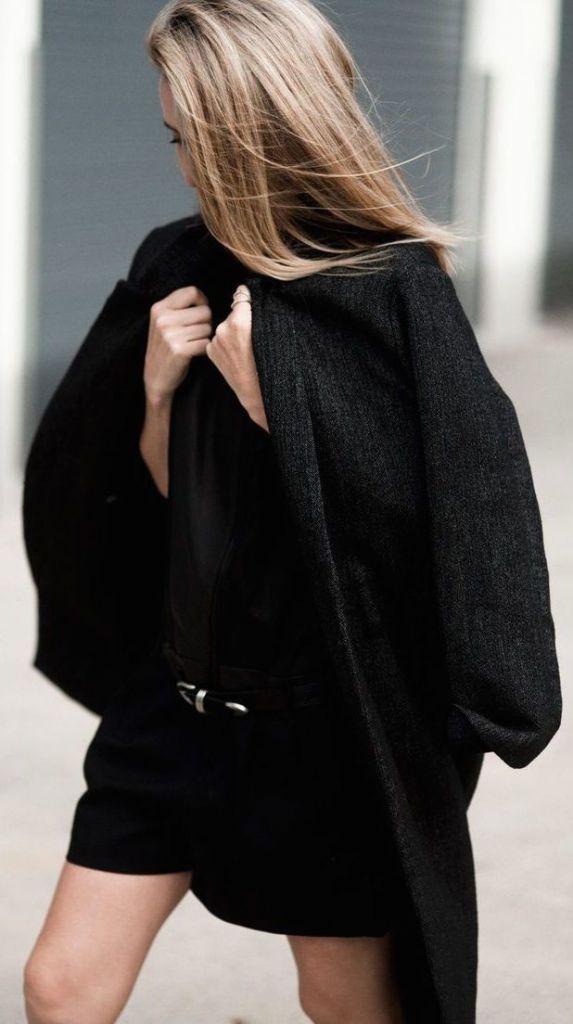 The Native Fox black blazer, black chevron blouse.
