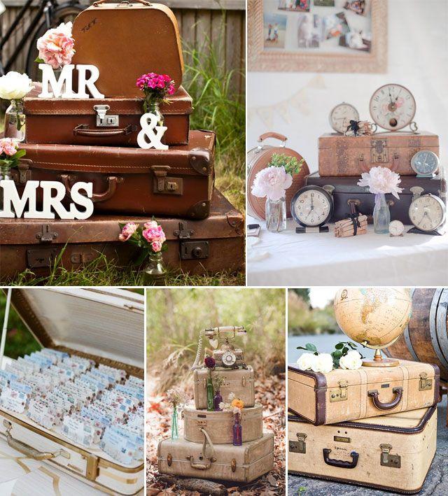 maletas para decorar bodas con temtica viajera