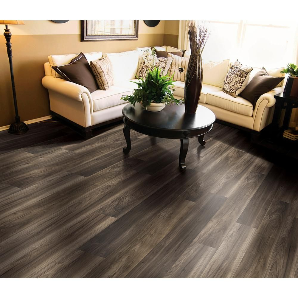 Trafficmaster Lakeshore Pecan Heather 7 Mm Thick X 7 2 3 In Wide