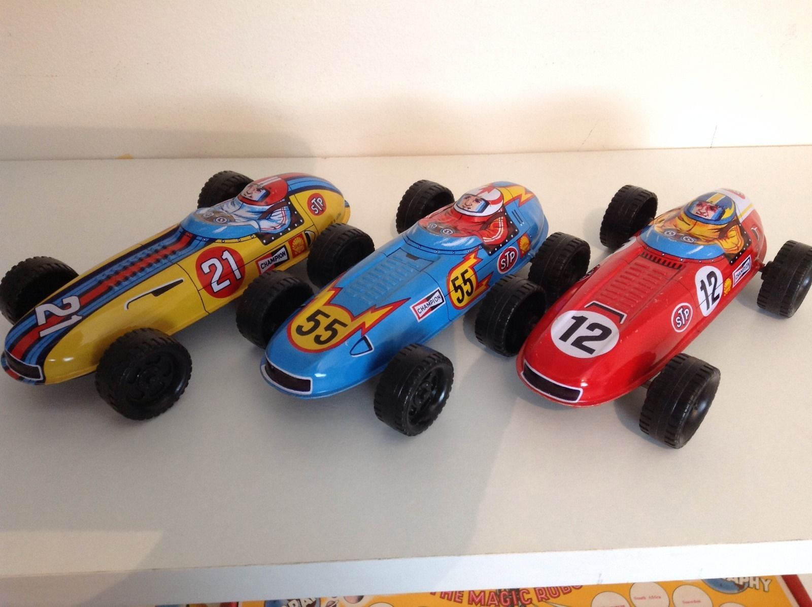 Sanko Japan Trade Box 12 tinplate friction drive racing cars 1960's