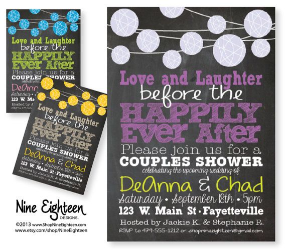 couples shower invitation love laughter happily ever after lantern u0026 chalkboard design custom printable pdfjpg i design you print