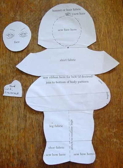 Betsy dool motif imprimé et collé sur carton