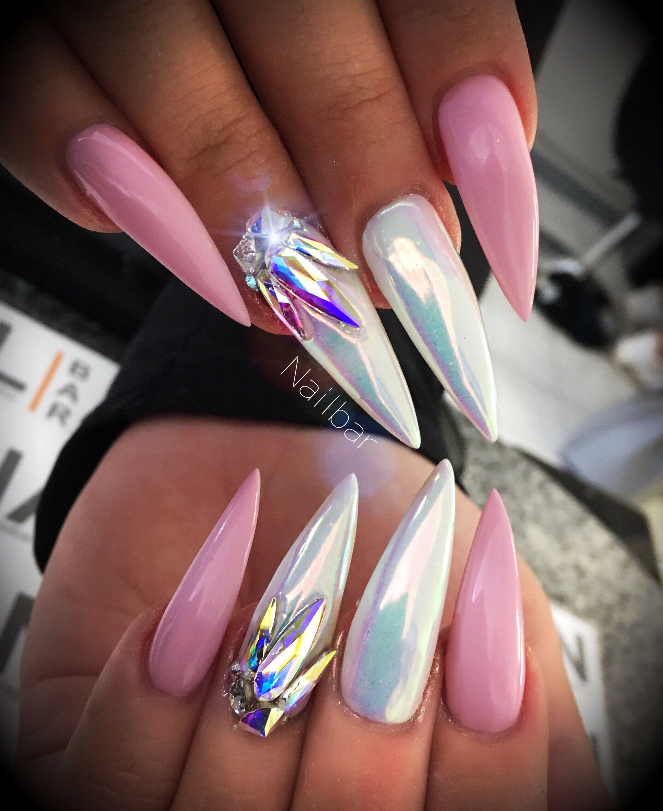 Pink and white bling nails | Nails | Pinterest | Bling nails, Nail ...