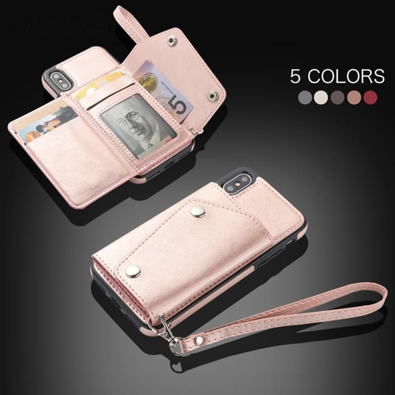 Luxury leather case for iphone flip wallet card holder